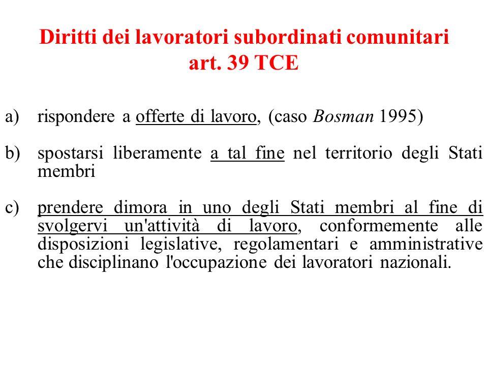Diritti dei lavoratori subordinati comunitari art. 39 TCE