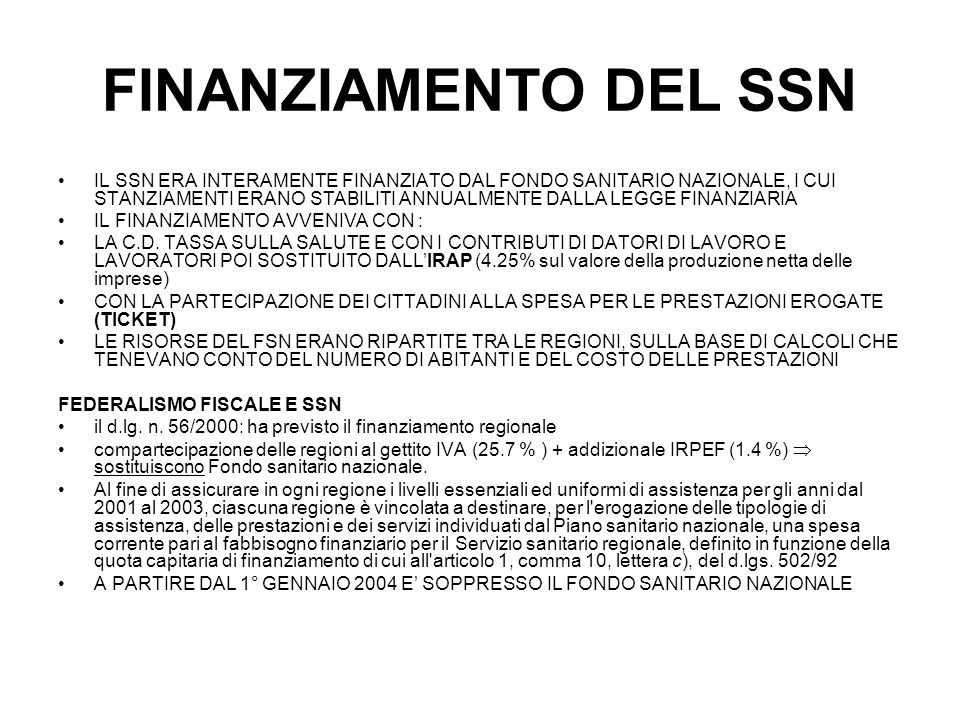 FINANZIAMENTO DEL SSN