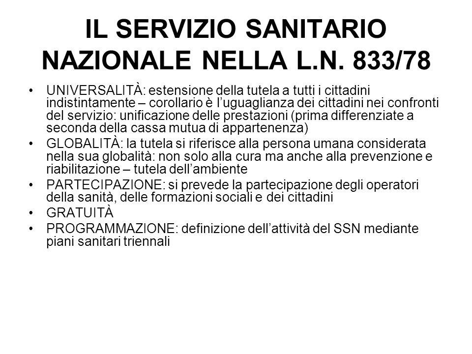 IL SERVIZIO SANITARIO NAZIONALE NELLA L.N. 833/78