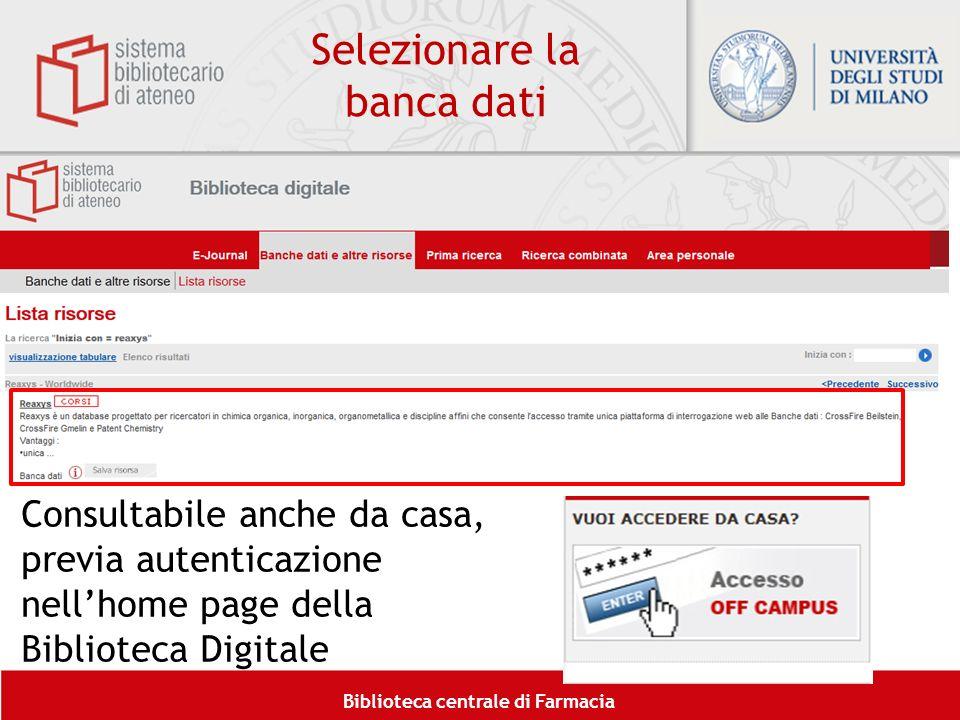 Selezionare la banca dati