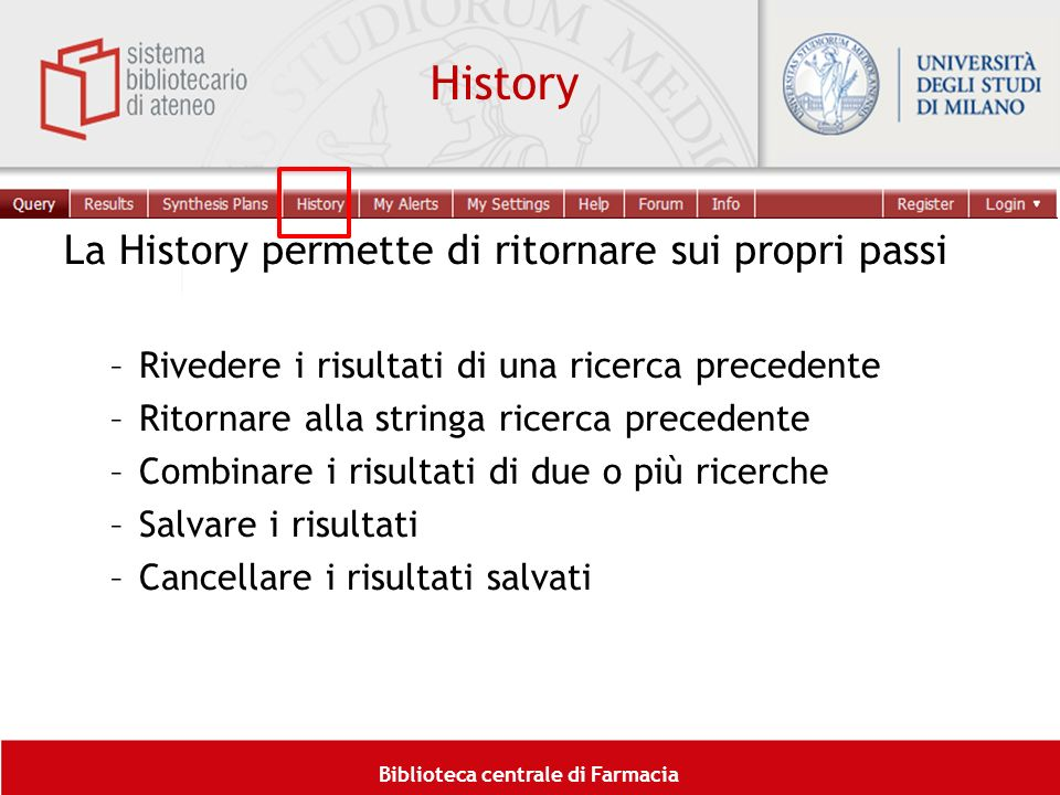 History La History permette di ritornare sui propri passi
