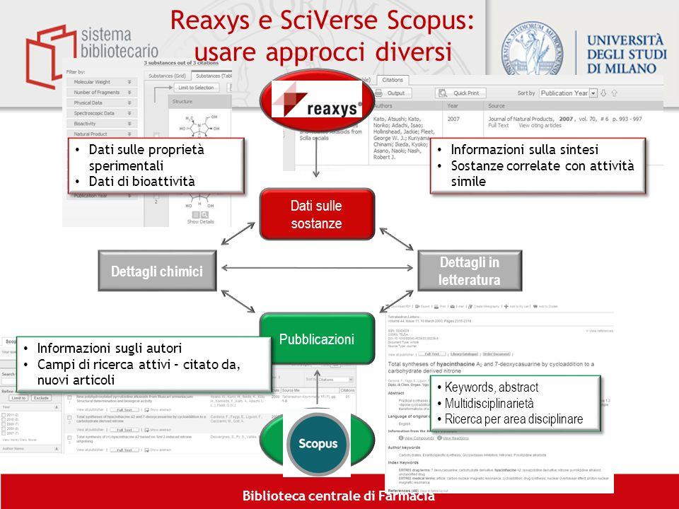 Reaxys e SciVerse Scopus: usare approcci diversi