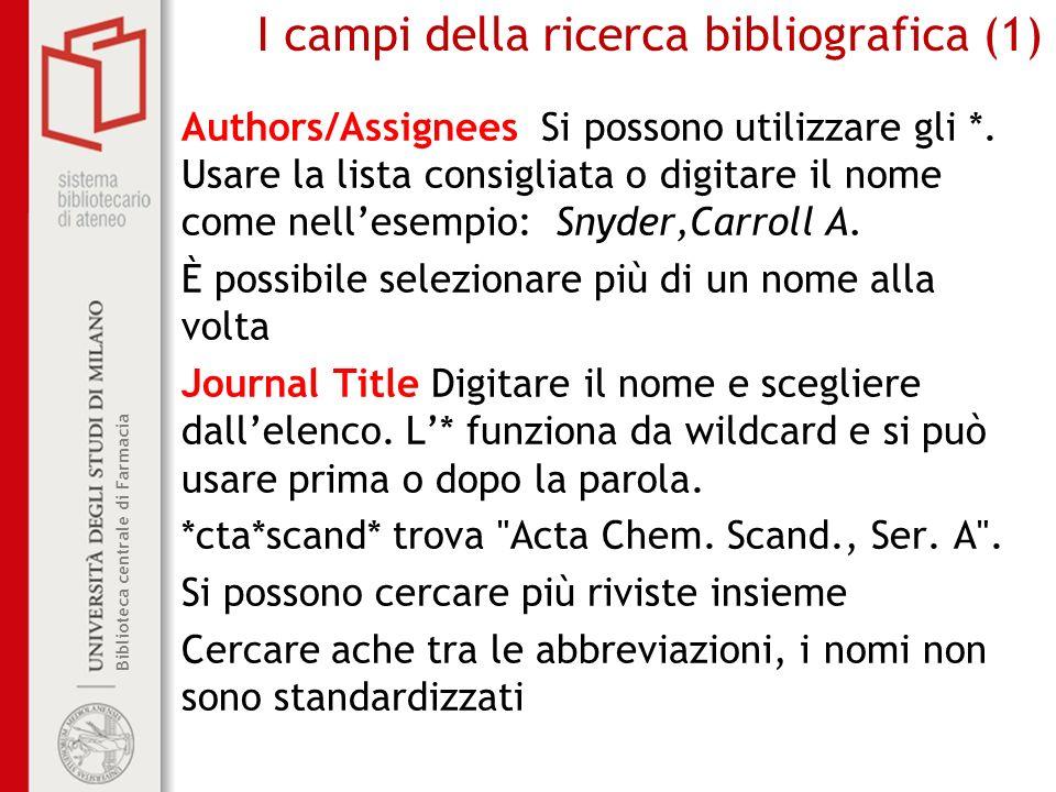 I campi della ricerca bibliografica (1)