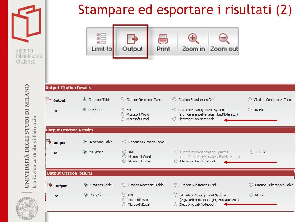 Stampare ed esportare i risultati (2)