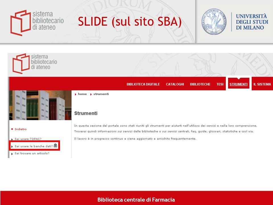 SLIDE (sul sito SBA)