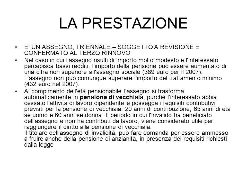 LA PRESTAZIONEE' UN ASSEGNO, TRIENNALE – SOGGETTO A REVISIONE E CONFERMATO AL TERZO RINNOVO.