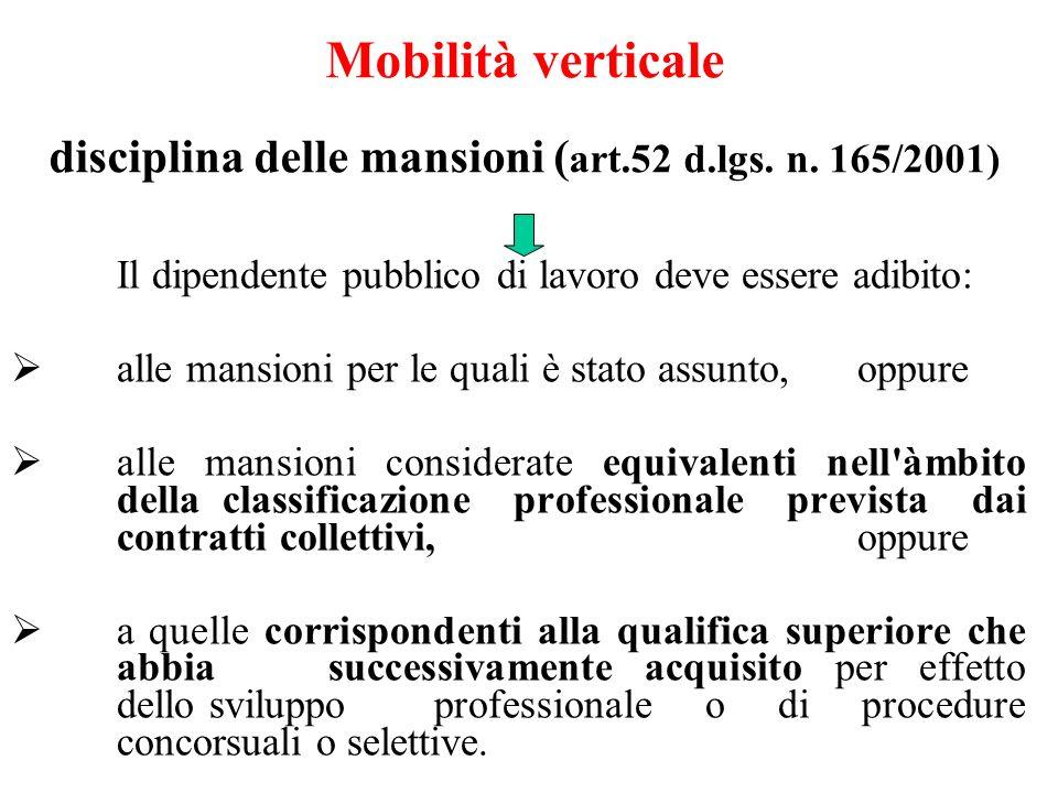 Mobilità verticale disciplina delle mansioni (art. 52 d. lgs. n