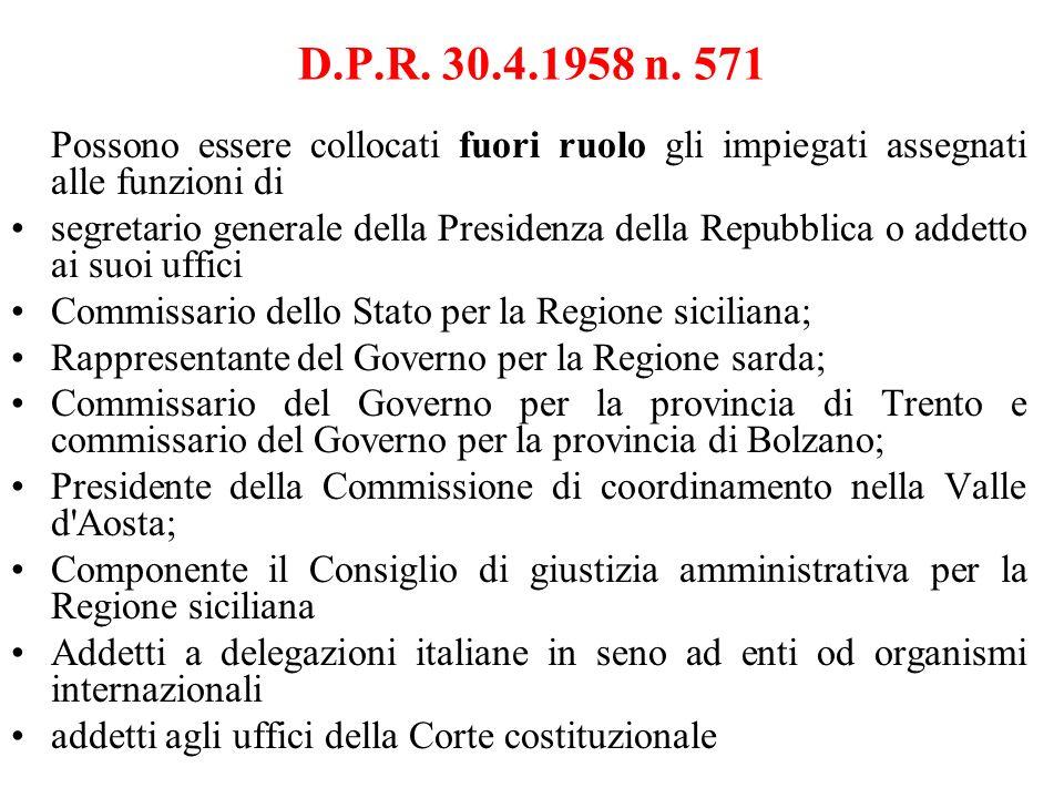 D.P.R. 30.4.1958 n. 571 Possono essere collocati fuori ruolo gli impiegati assegnati alle funzioni di.