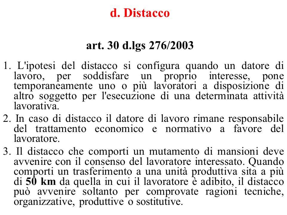 d. Distacco art. 30 d.lgs 276/2003