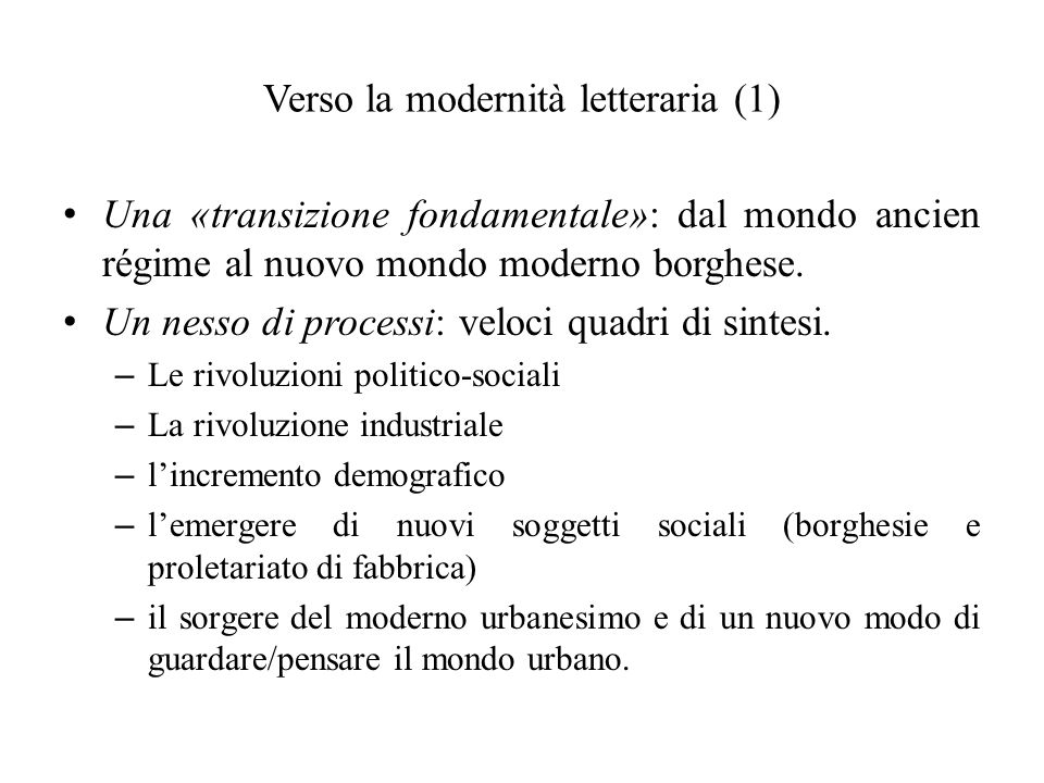 Verso la modernità letteraria (1)