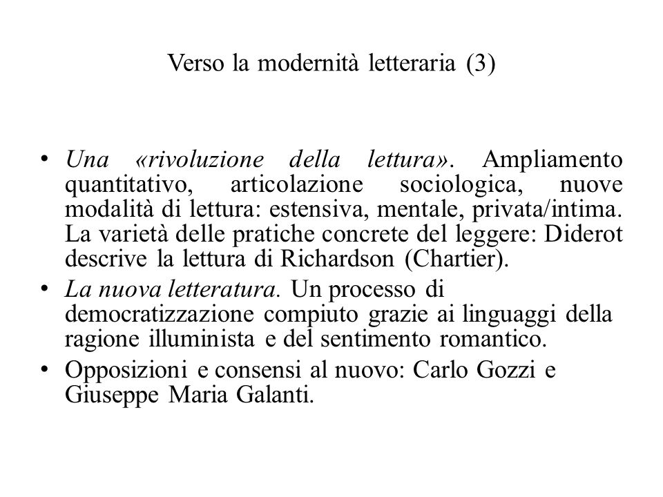 Verso la modernità letteraria (3)