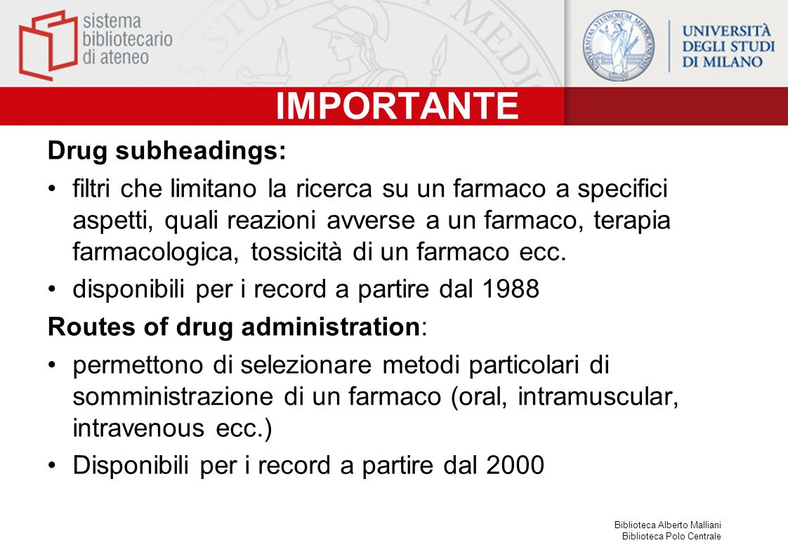 IMPORTANTE Drug subheadings: