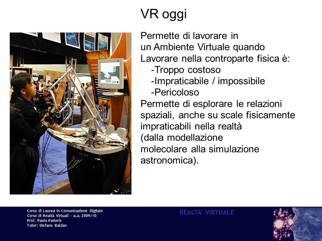 VR oggi Permette di lavorare in un Ambiente Virtuale quando