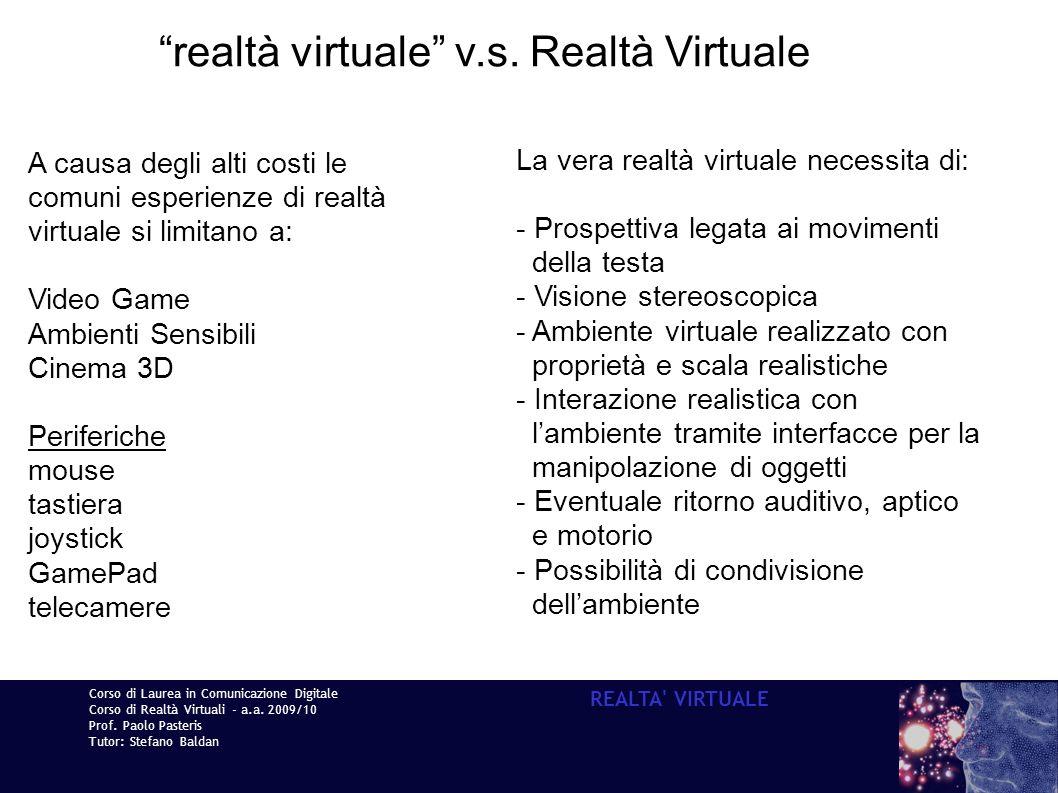 realtà virtuale v.s. Realtà Virtuale