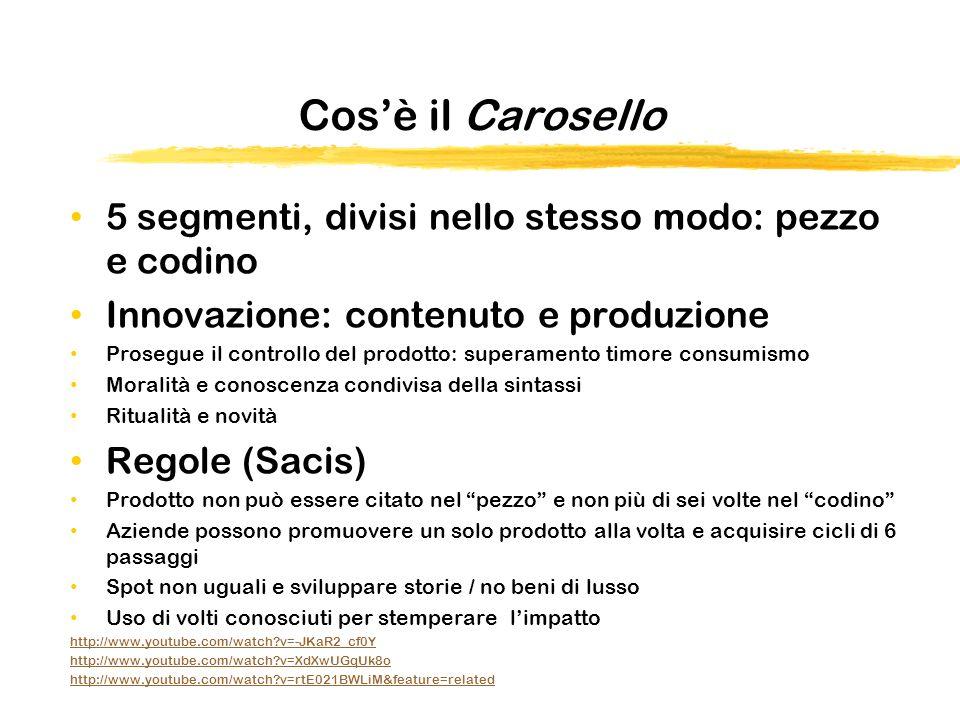 Cos'è il Carosello 5 segmenti, divisi nello stesso modo: pezzo e codino. Innovazione: contenuto e produzione.