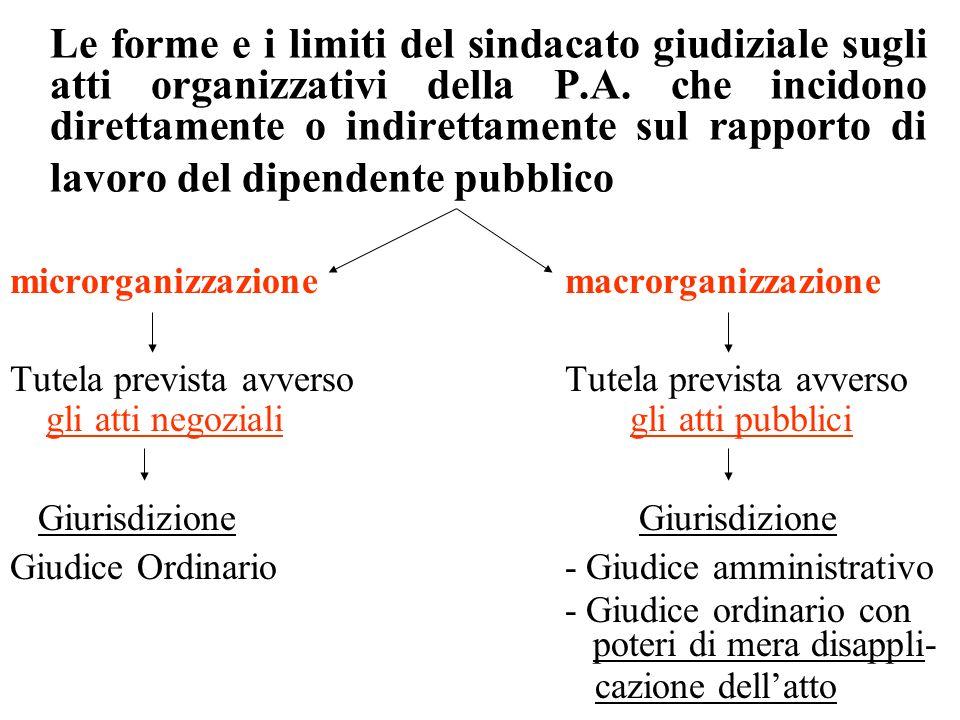 Le forme e i limiti del sindacato giudiziale sugli atti organizzativi della P.A. che incidono direttamente o indirettamente sul rapporto di lavoro del dipendente pubblico