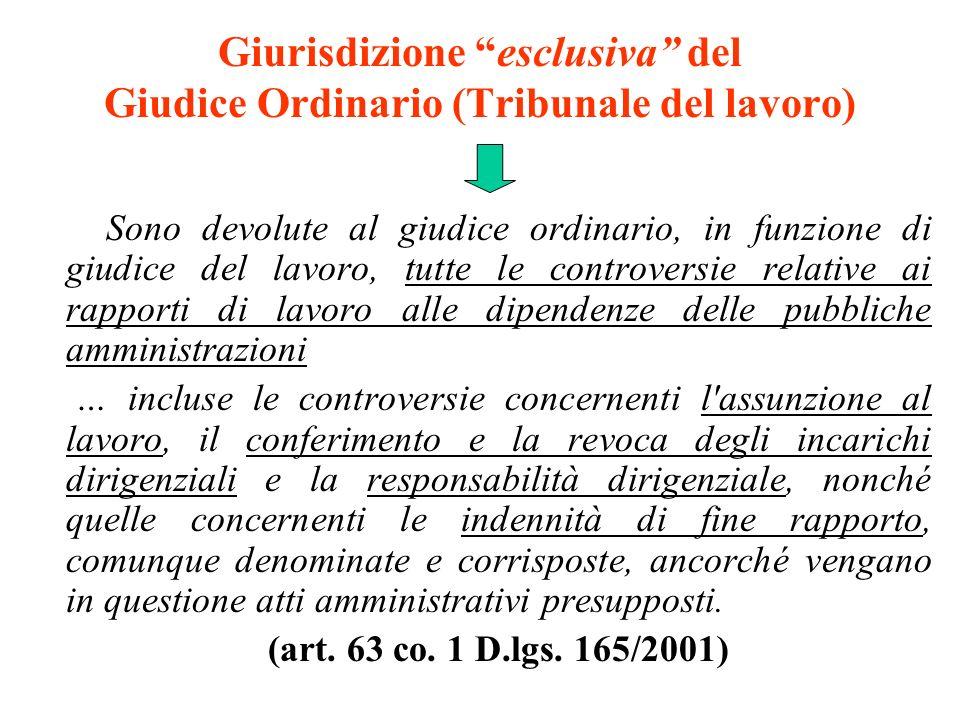 Giurisdizione esclusiva del Giudice Ordinario (Tribunale del lavoro)
