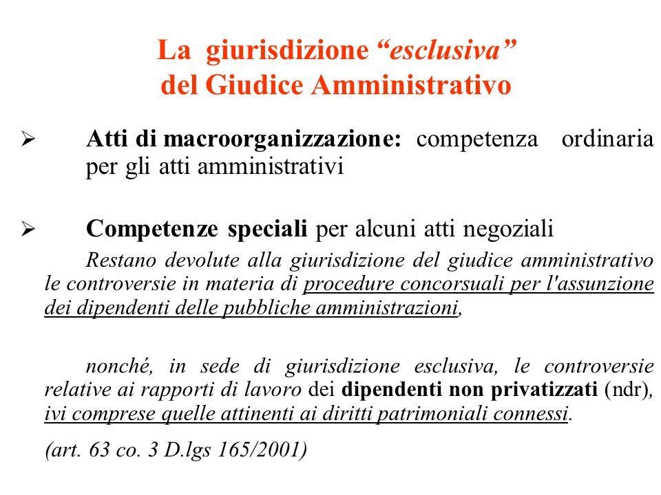 La giurisdizione esclusiva del Giudice Amministrativo