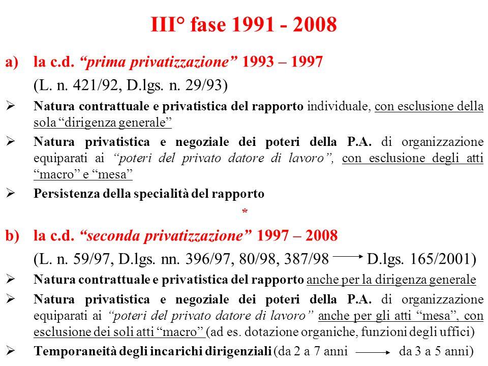 III° fase 1991 - 2008 la c.d. prima privatizzazione 1993 – 1997