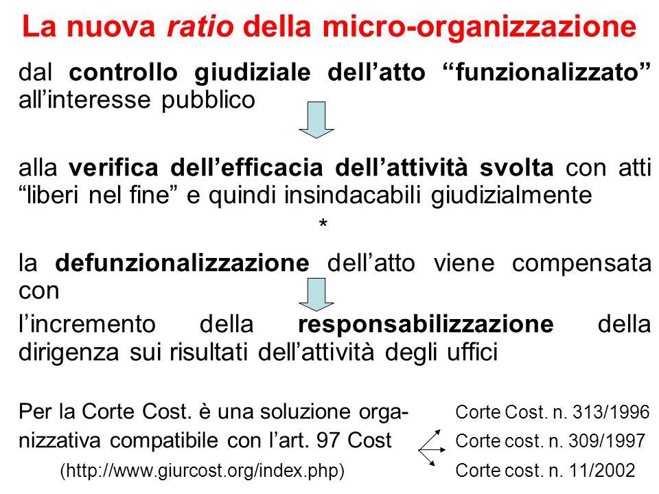 La nuova ratio della micro-organizzazione