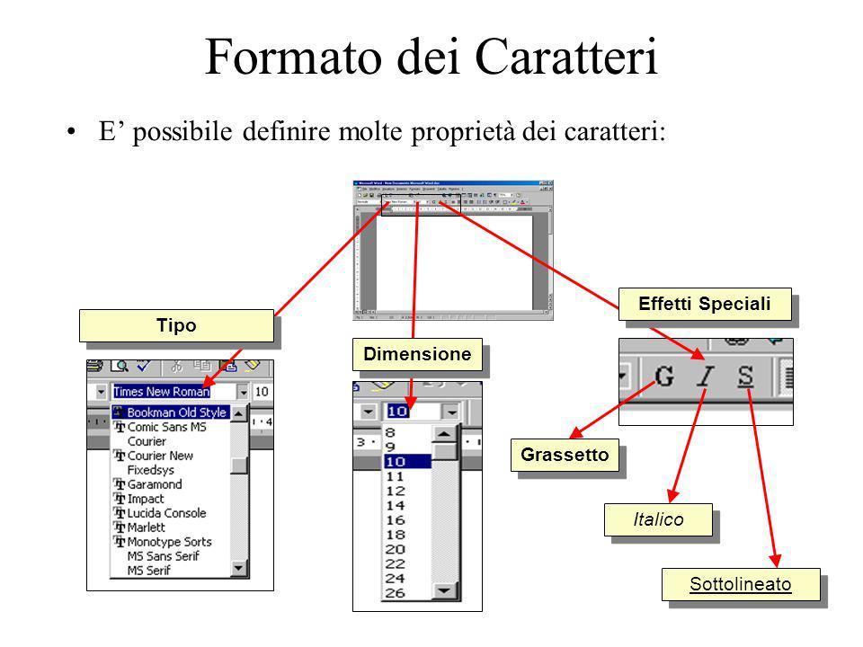 Formato dei Caratteri E' possibile definire molte proprietà dei caratteri: Effetti Speciali. Tipo.