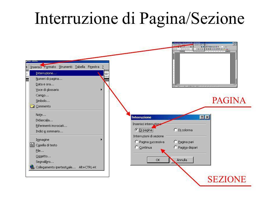 Interruzione di Pagina/Sezione