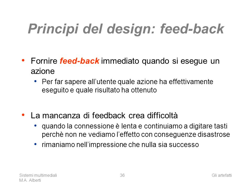 Principi del design: feed-back