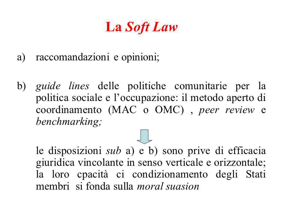 La Soft Law raccomandazioni e opinioni;