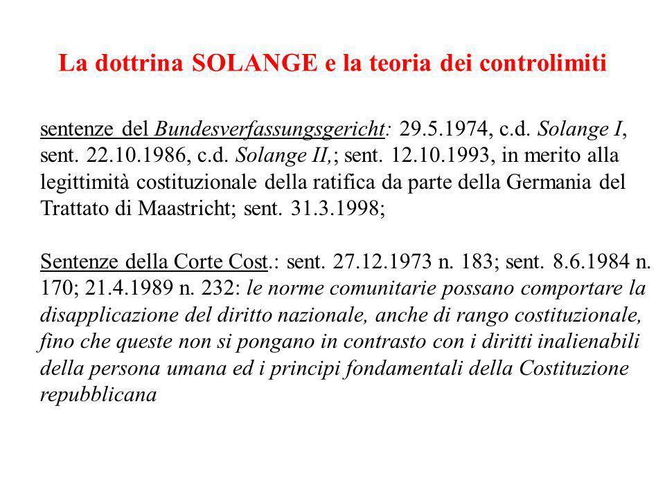 La dottrina SOLANGE e la teoria dei controlimiti