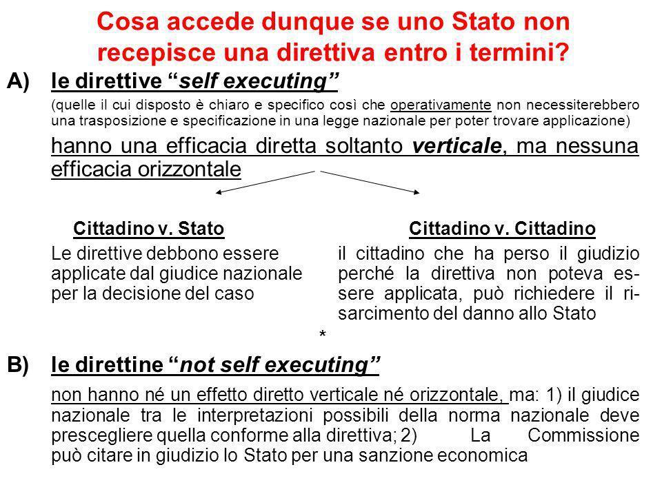 Cosa accede dunque se uno Stato non recepisce una direttiva entro i termini