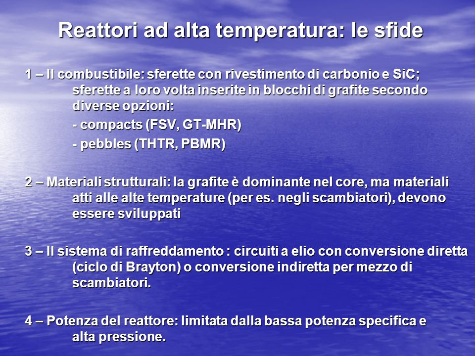 Reattori ad alta temperatura: le sfide