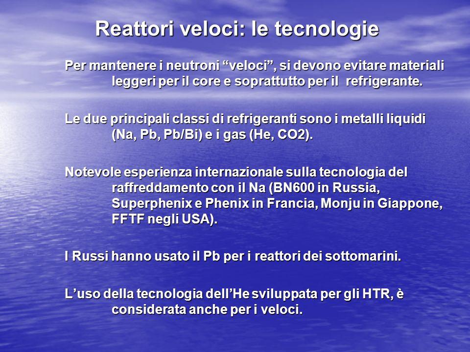 Reattori veloci: le tecnologie