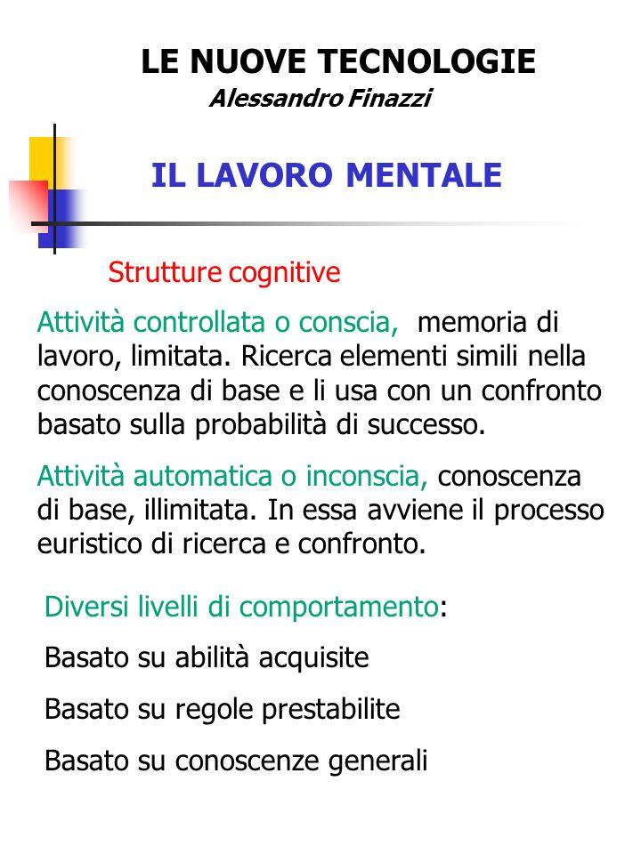 LE NUOVE TECNOLOGIE IL LAVORO MENTALE Strutture cognitive