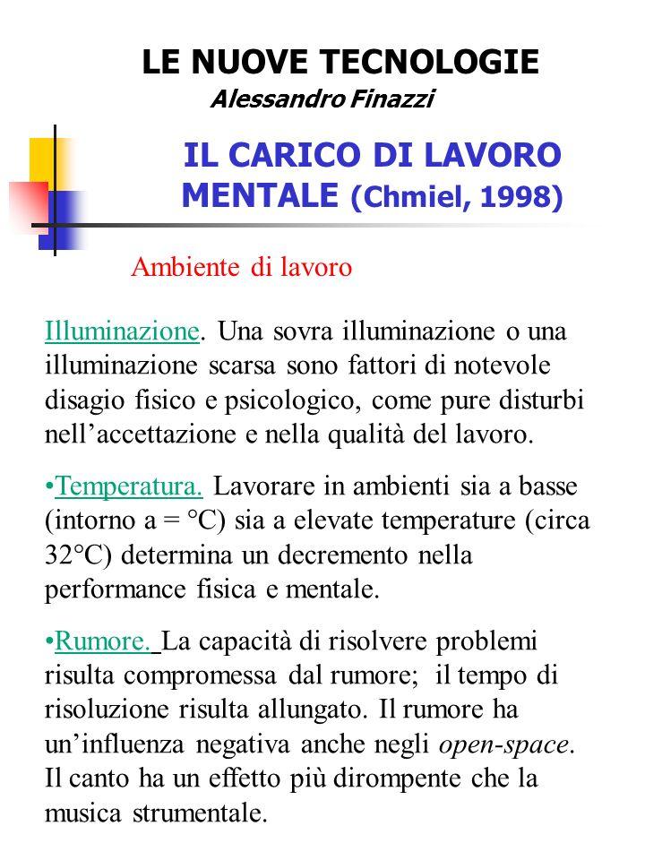 IL CARICO DI LAVORO MENTALE (Chmiel, 1998)