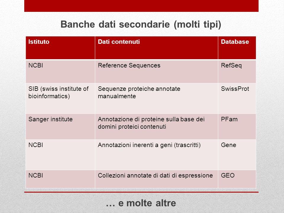 Banche dati secondarie (molti tipi)
