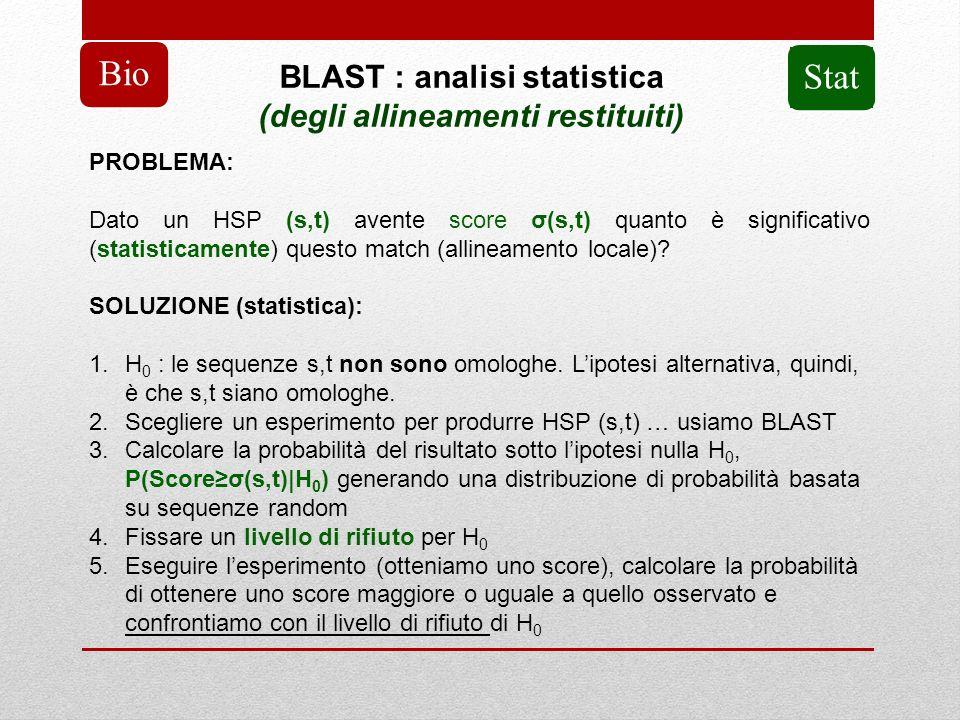 BLAST : analisi statistica (degli allineamenti restituiti)