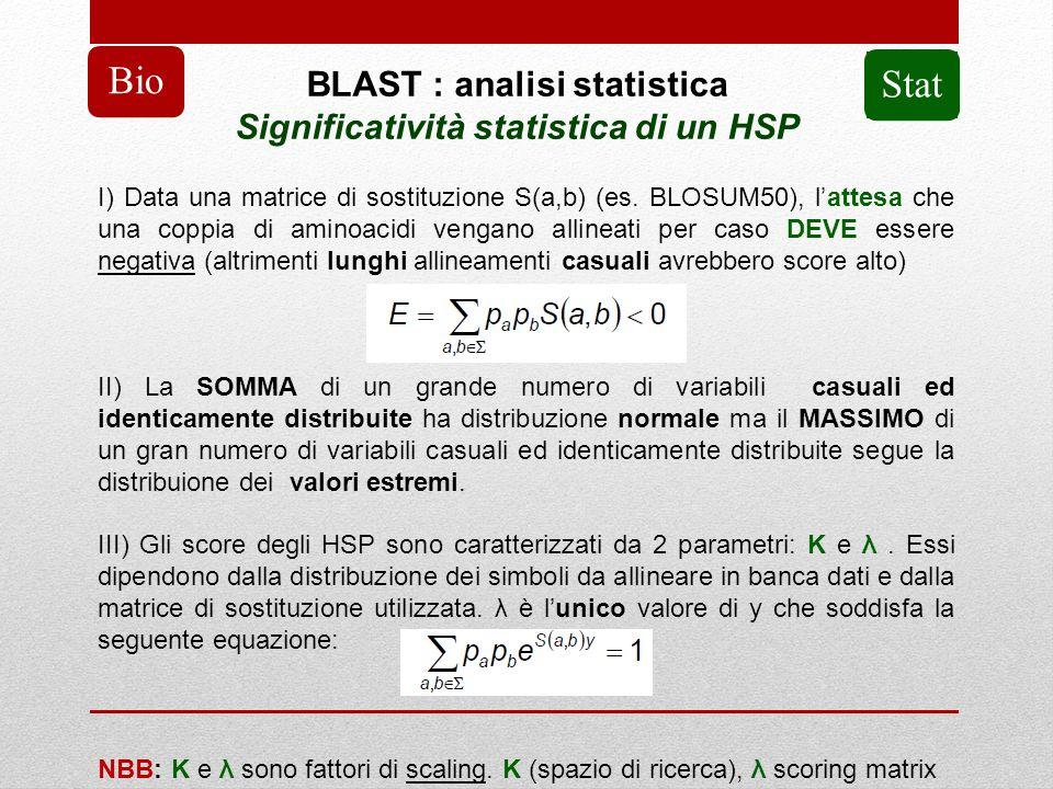 BLAST : analisi statistica Significatività statistica di un HSP