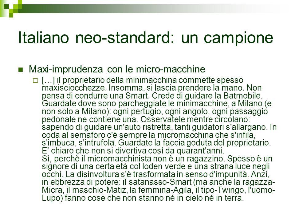 Italiano neo-standard: un campione