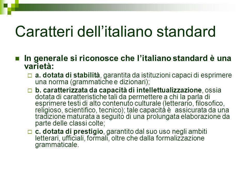 Caratteri dell'italiano standard