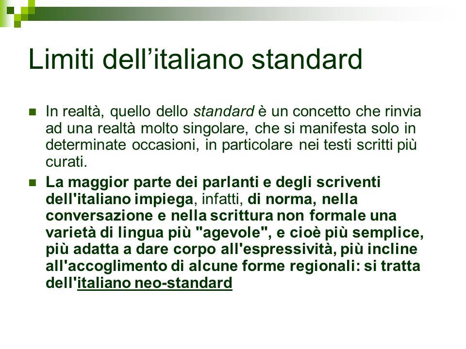 Limiti dell'italiano standard