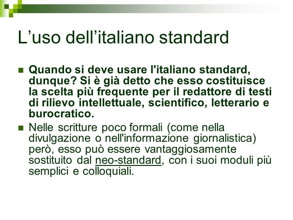 L'uso dell'italiano standard