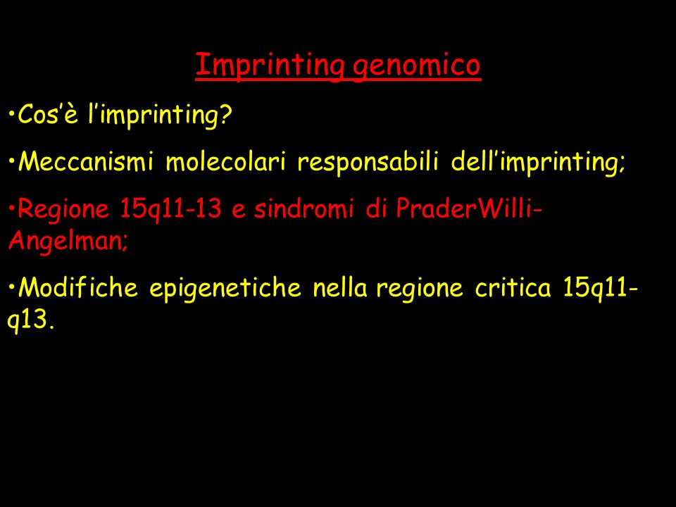 Imprinting genomico Cos'è l'imprinting