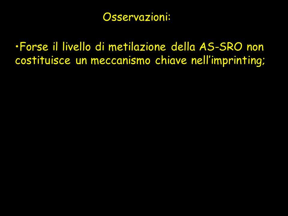 Osservazioni: Forse il livello di metilazione della AS-SRO non costituisce un meccanismo chiave nell'imprinting;