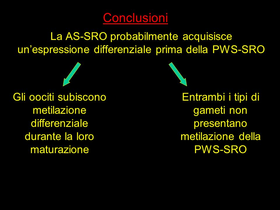 Entrambi i tipi di gameti non presentano metilazione della PWS-SRO