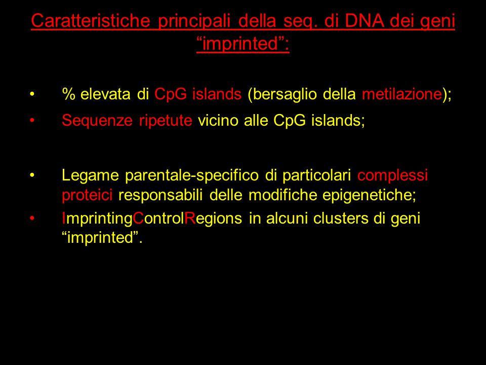 Caratteristiche principali della seq. di DNA dei geni imprinted :