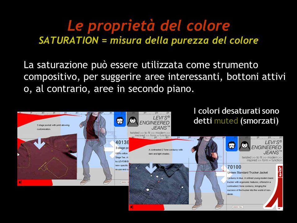 Le proprietà del colore SATURATION = misura della purezza del colore
