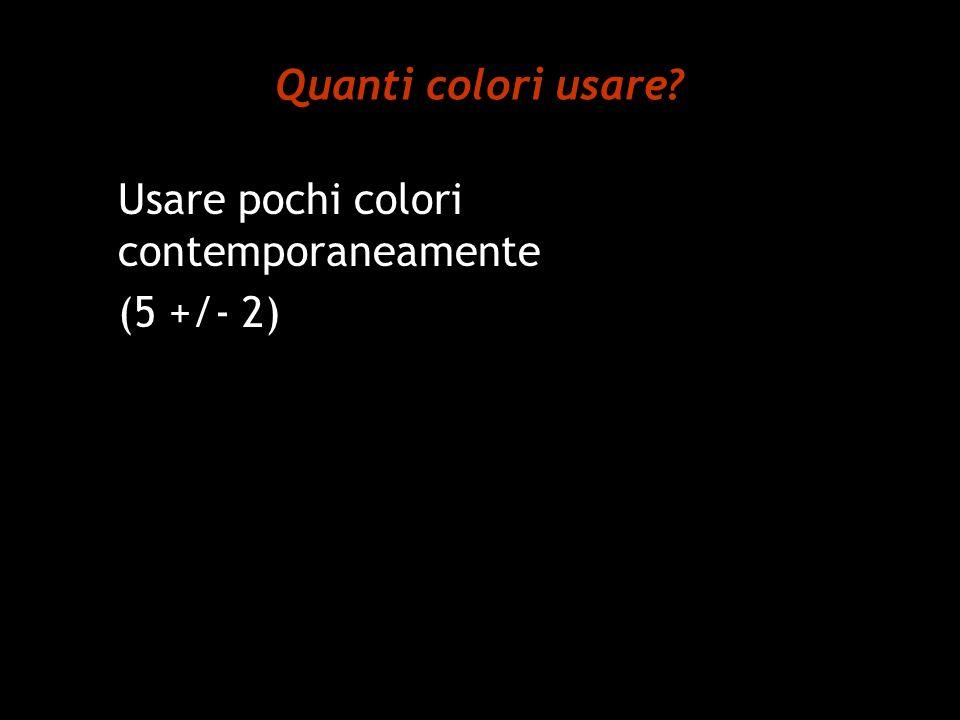 Quanti colori usare Usare pochi colori contemporaneamente (5 +/- 2)
