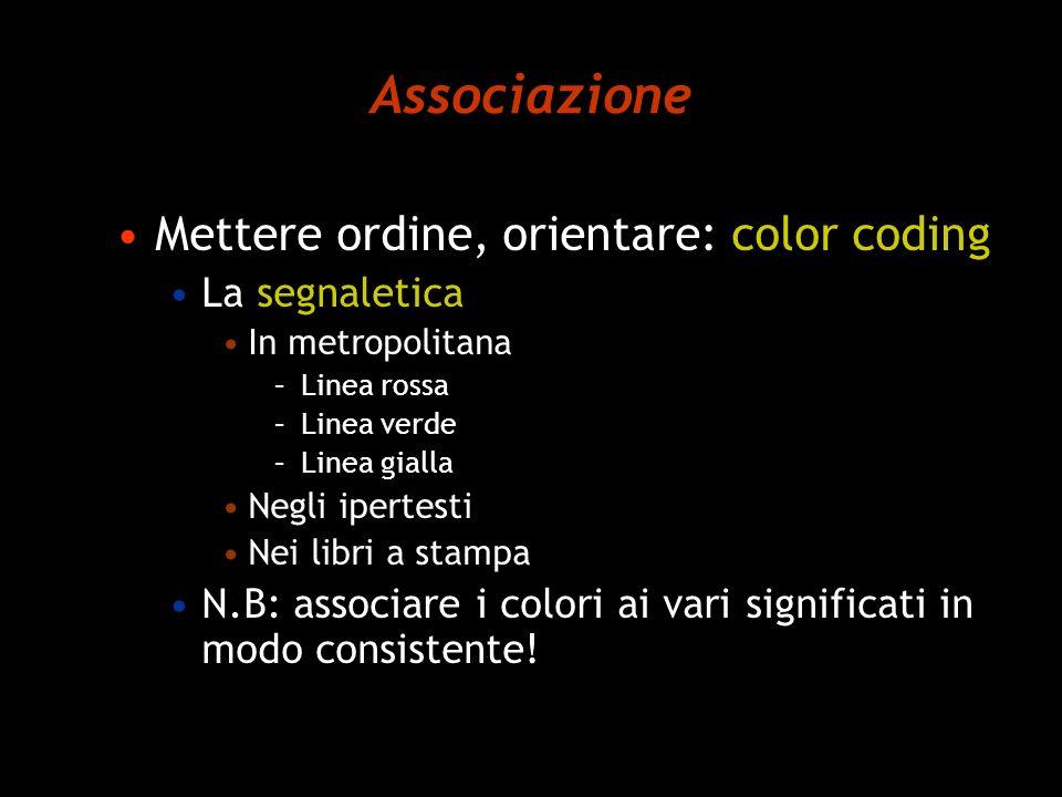 Associazione Mettere ordine, orientare: color coding La segnaletica