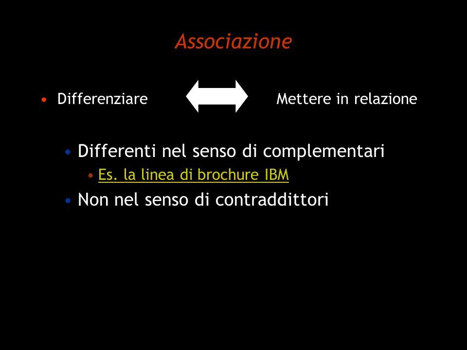Associazione Differenti nel senso di complementari
