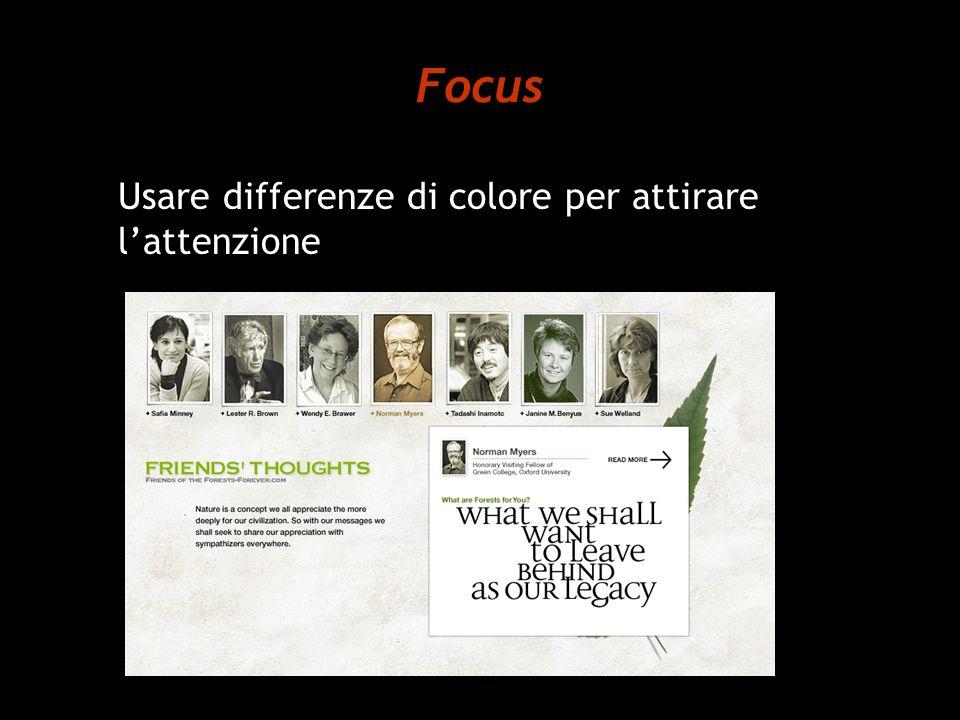 Focus Usare differenze di colore per attirare l'attenzione